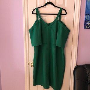 Eloqui Green Cold Shoulder Dress